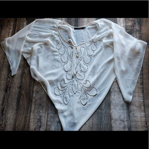 Off White Sheer Blouse Pancho Small
